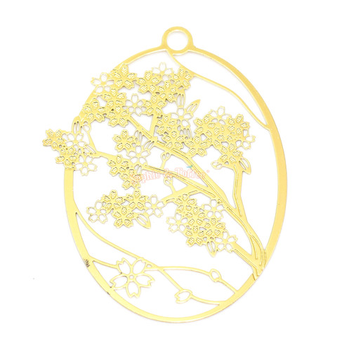 Sakura Flower Metal Gold Foil Resin Oval Backing (2 pieces)