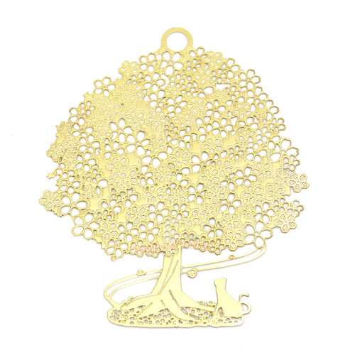 Sakura Tree Metal Gold Foil Resin Oval Backing (2 pieces)