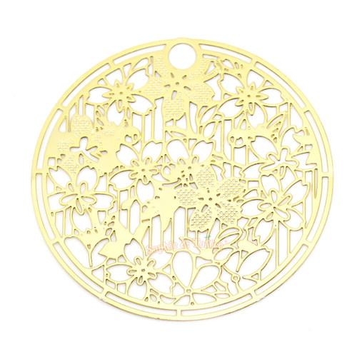 Sakura Branch Metal Gold Foil Resin Round Backing (2 pieces)