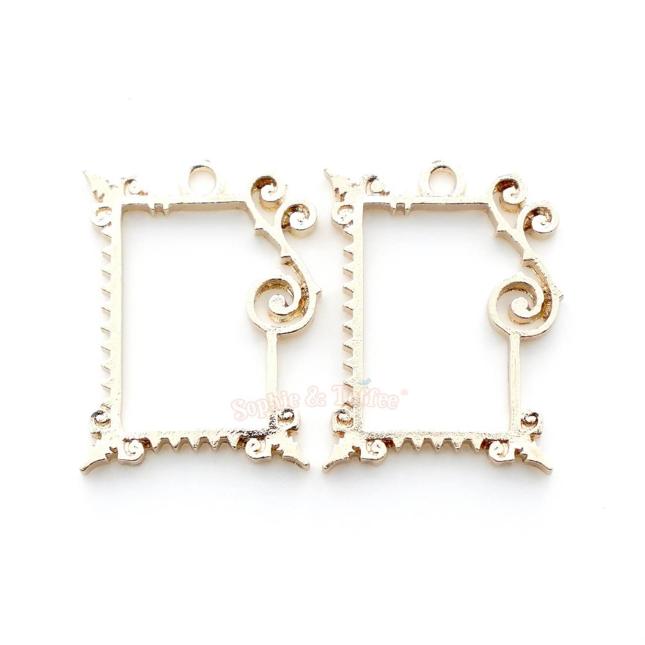 Fancy Rectangle Frame Open Bezel Charms | Rectangular Frame Open ...