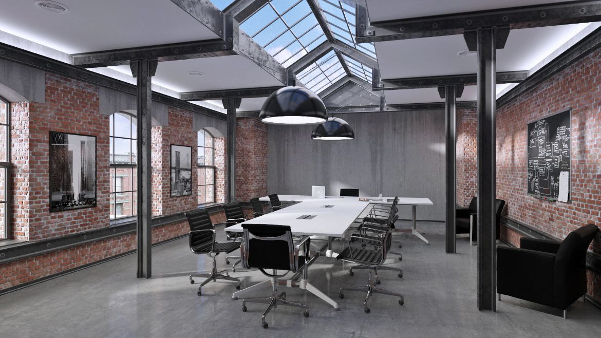 Industrial Boardroom with a White Boardroom Table and Low Back Black Executive Chairs