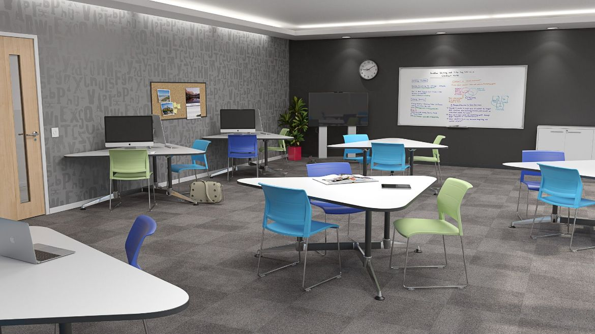 Educational Classroom Setting with 3 Person Traingular Desks and Colourful Classroom Chairs