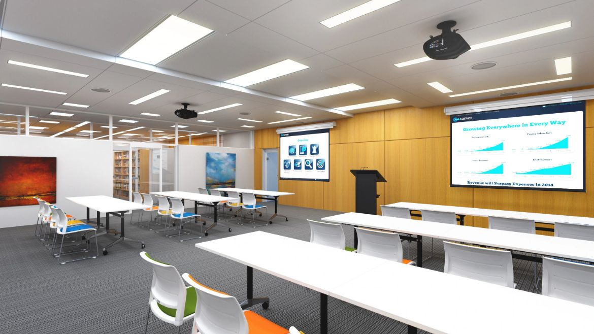 Traditional Classroom or Lecture Room Layout with Rows of Straight Desks, Classroom Chairs and a Teaching Podium