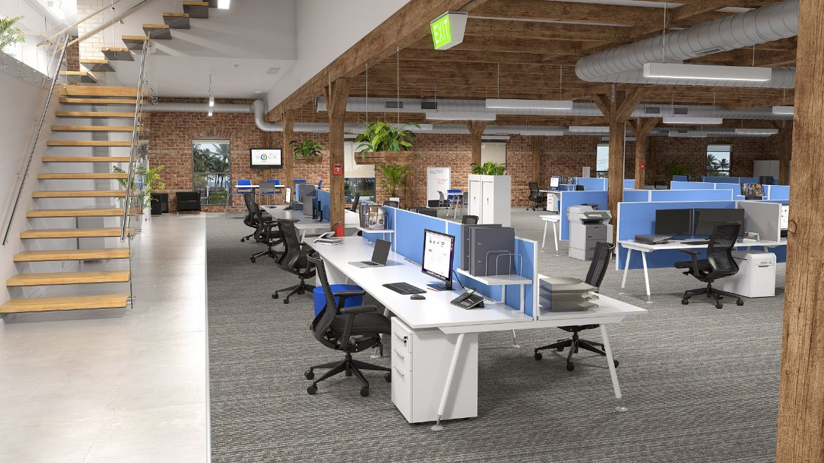 Industrial Office Workspace Setting with 6 Person Workstations with Desk Screens and Rustic Brick Walls