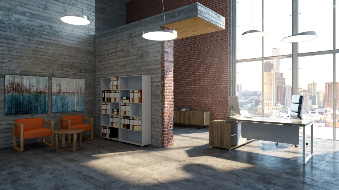 Industrial Private Executive Office with Brick Walls, a Meeting Area, a Private Desk and a Black Executive Office Chair