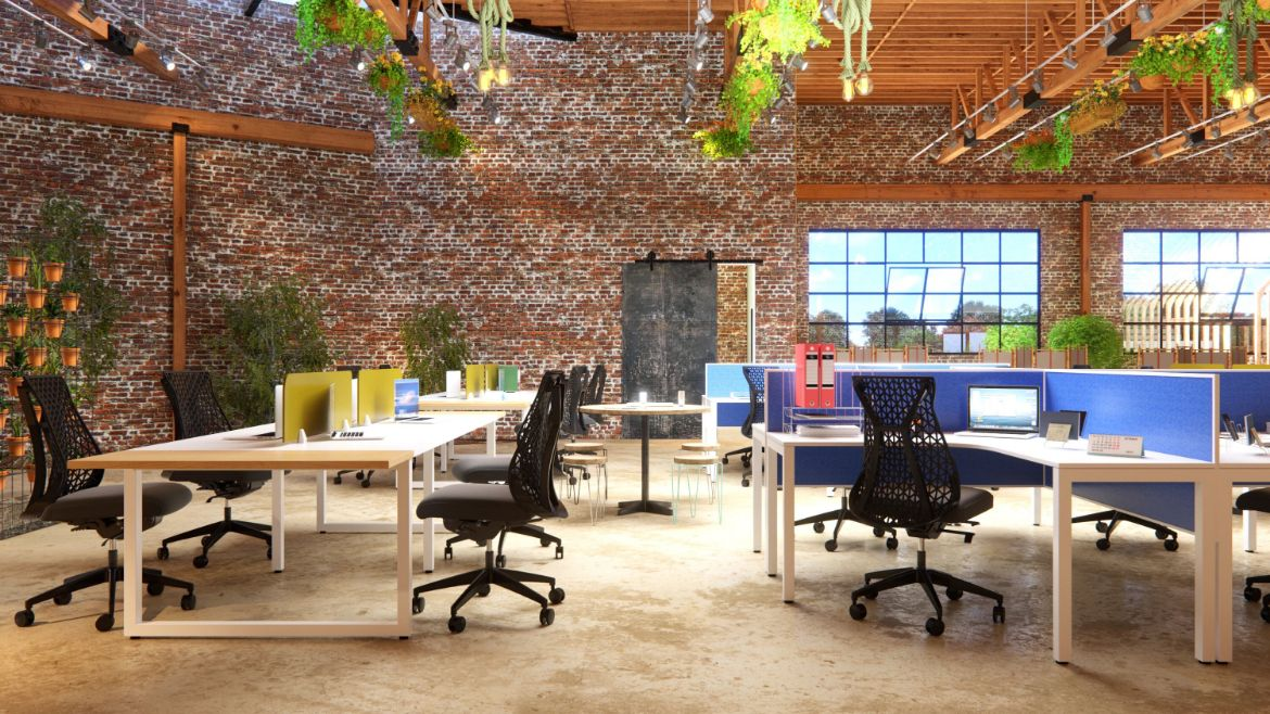Open Plan Industrial Office Workspace with 4 Person Workstations and Industrial Brick Walls