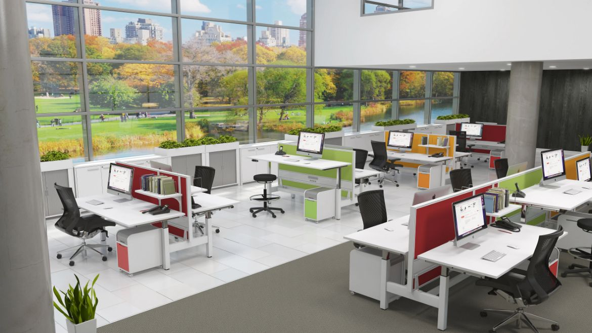 Modern Open Plac Workplace with Standing Desks and Height Adjustable Desks and Colourful Desk Screens