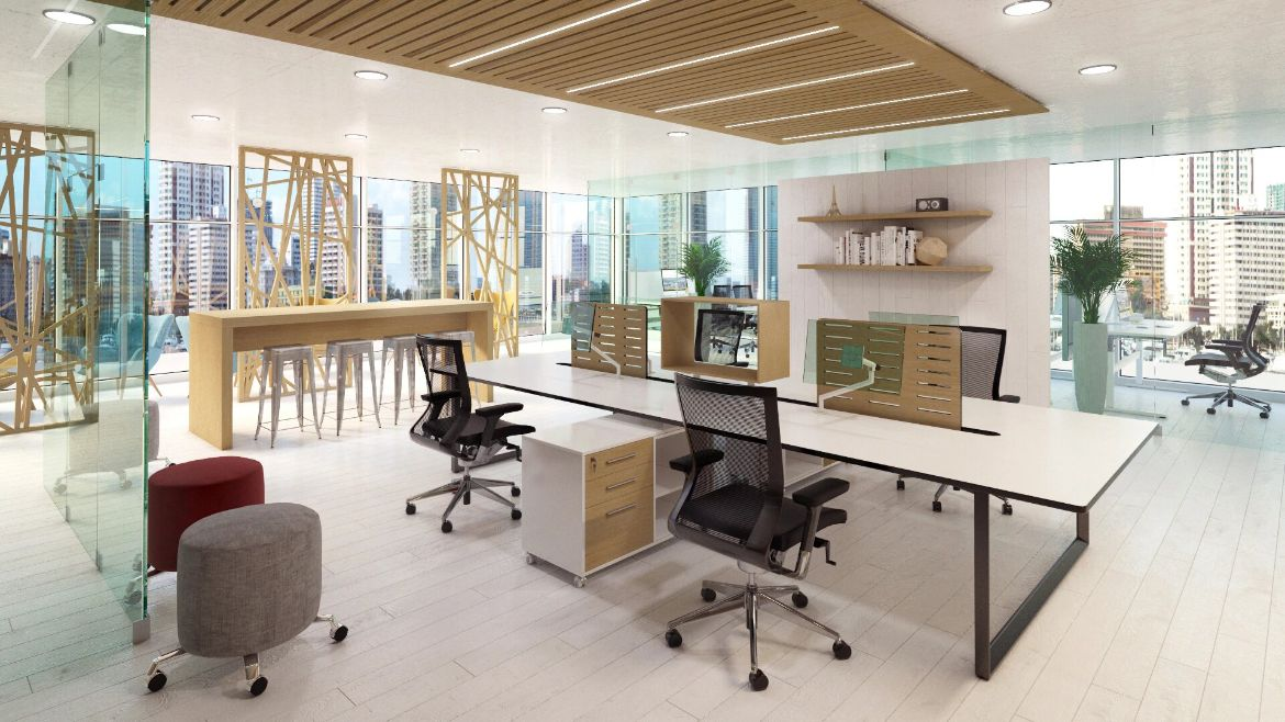 Modern Office Workstations with Wooden Modestly Panels and Black Office Chairs