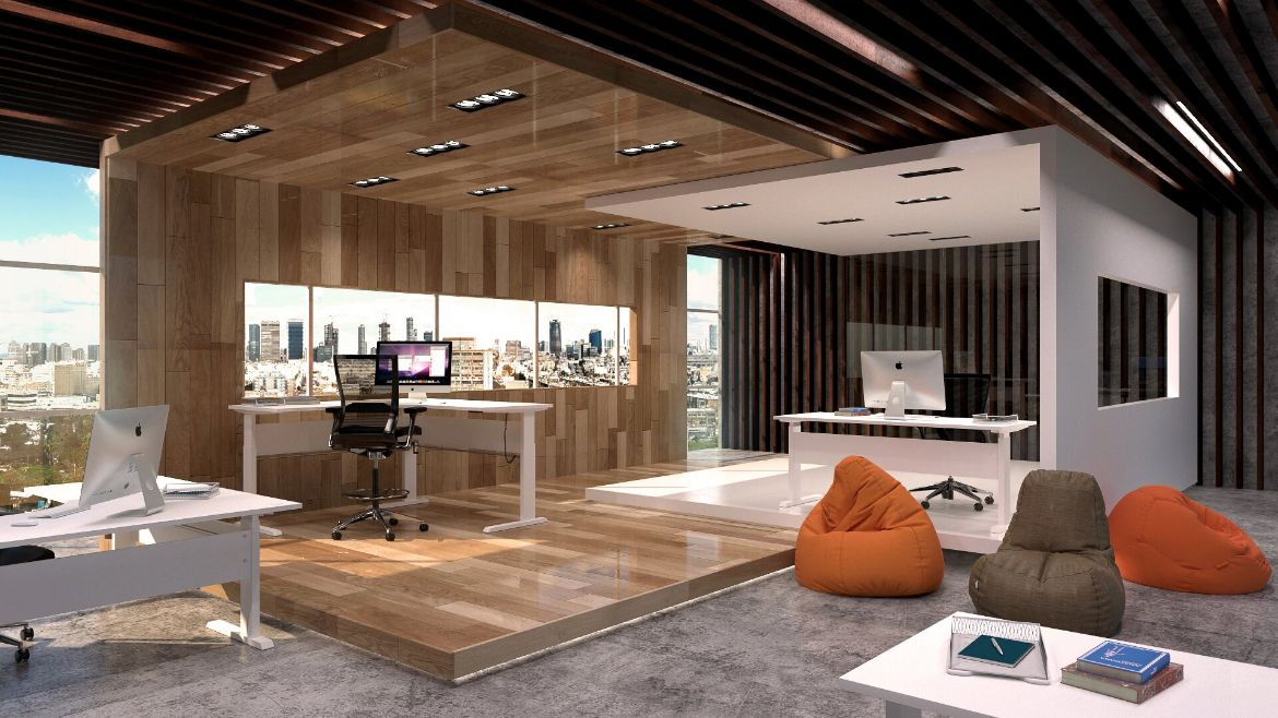 Wooden Interior Modern Office with Standing Desks and Height Adjustable Desks with Raised Wooden Stages