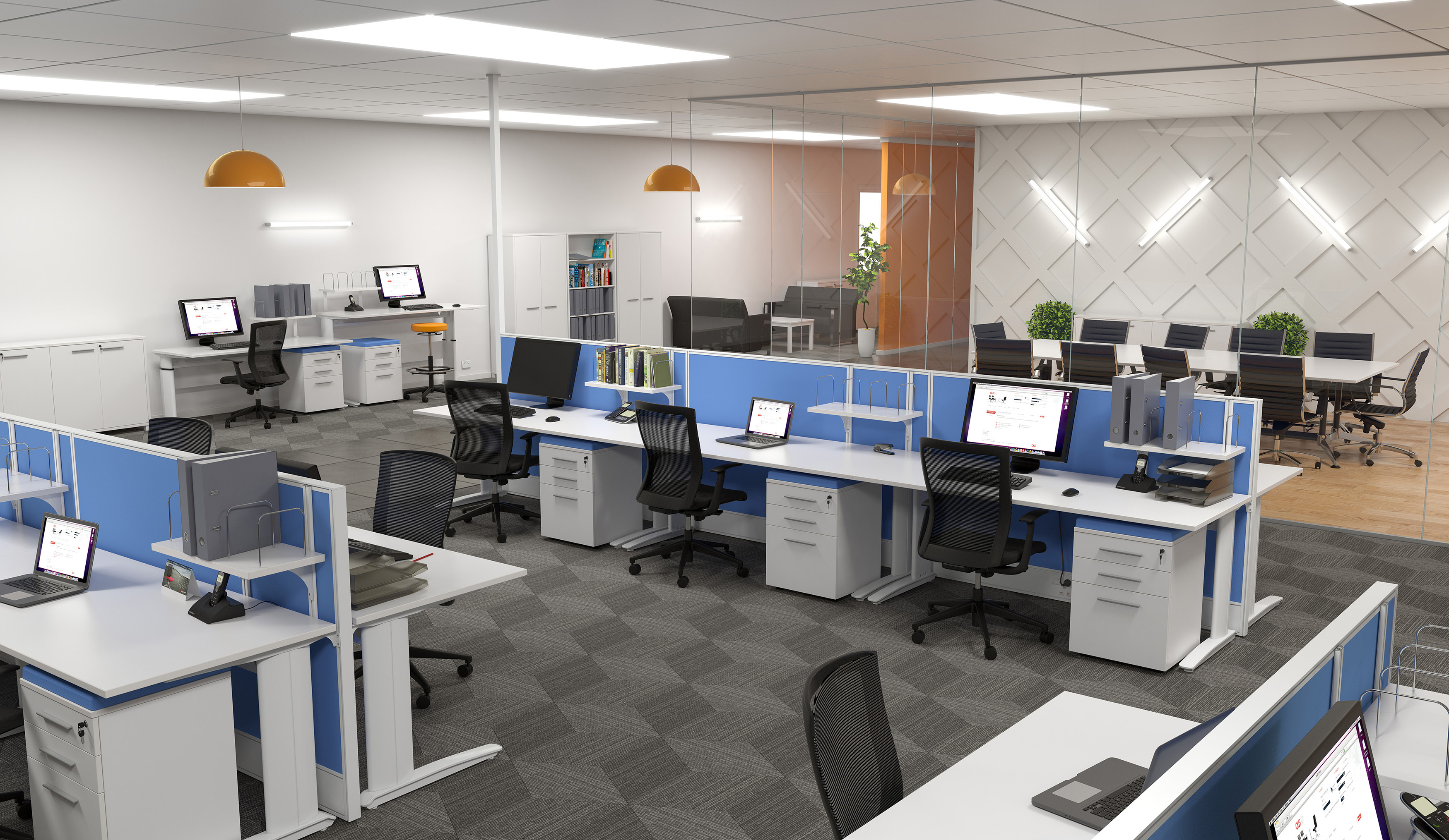 Modern office layout with height adjustable desks standing desks and blue desk screens