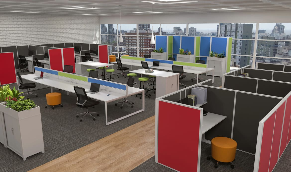 Colourful Open Plan Office with Workstations and Privacy Pods and Storage