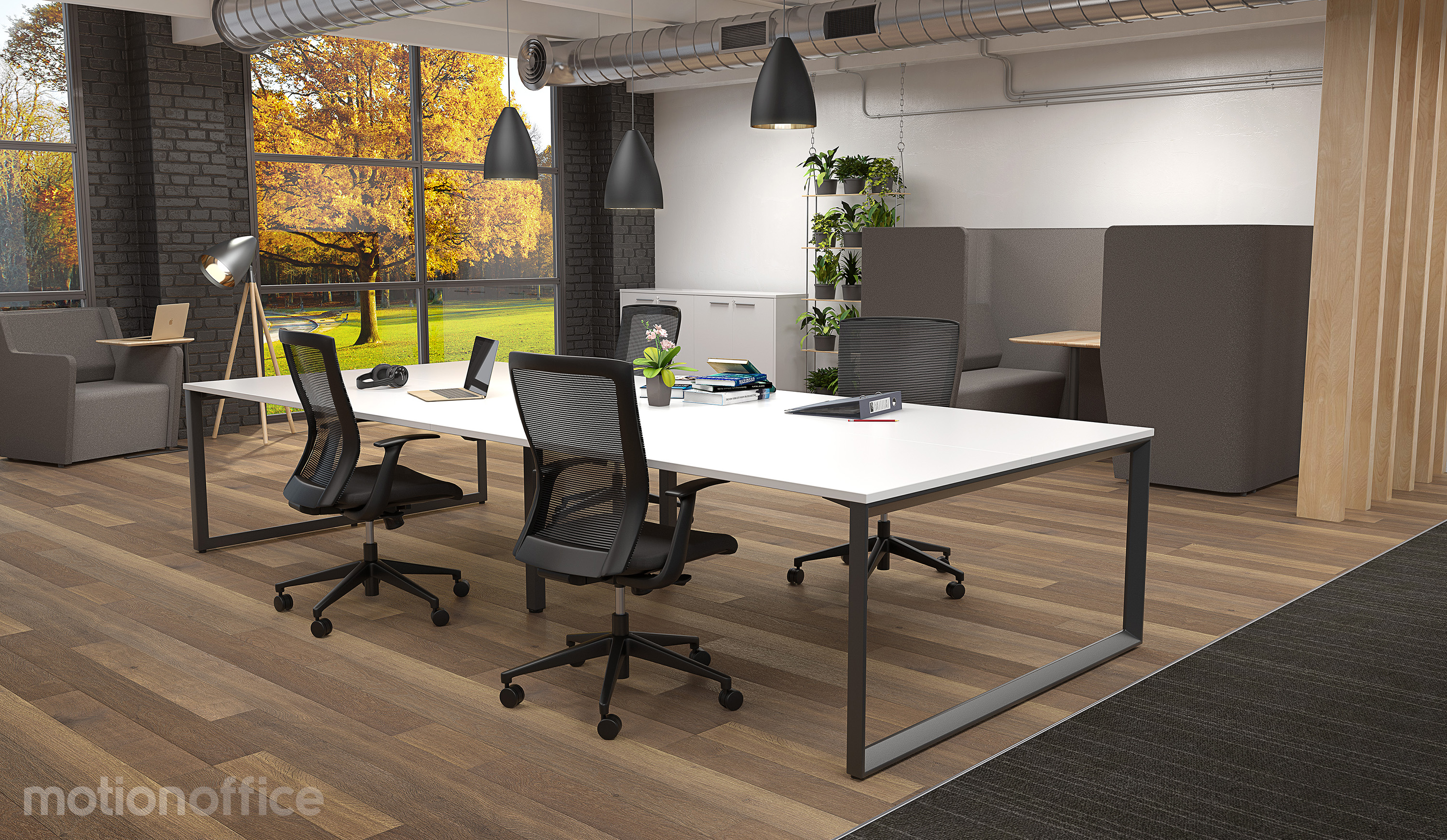 Modern Open Plan Office Workplace With Workstations, Office Chairs and Grey Pods