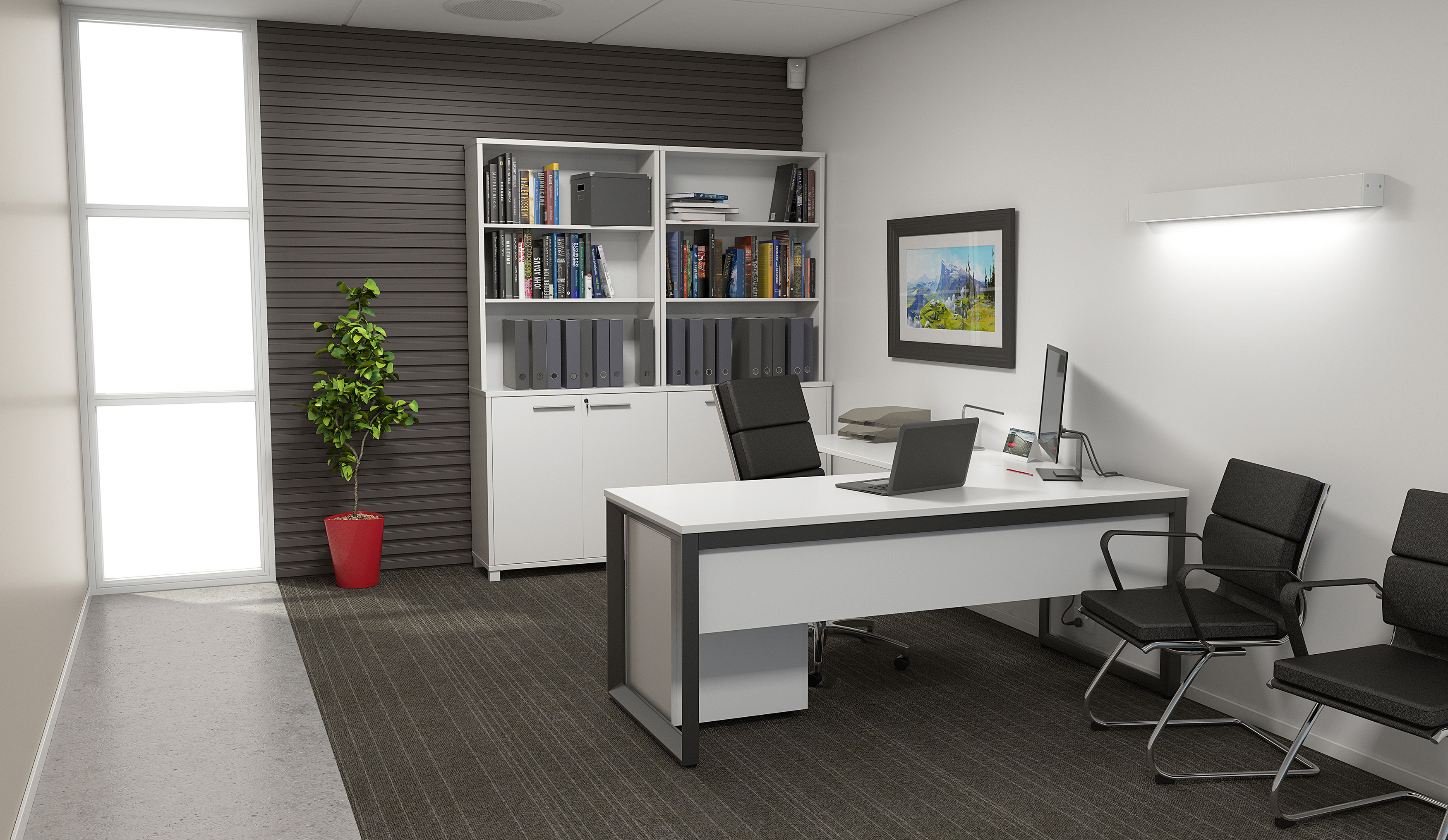 Private Office Space With An L Desk, A Bookshelve Unit And Visitor Seating