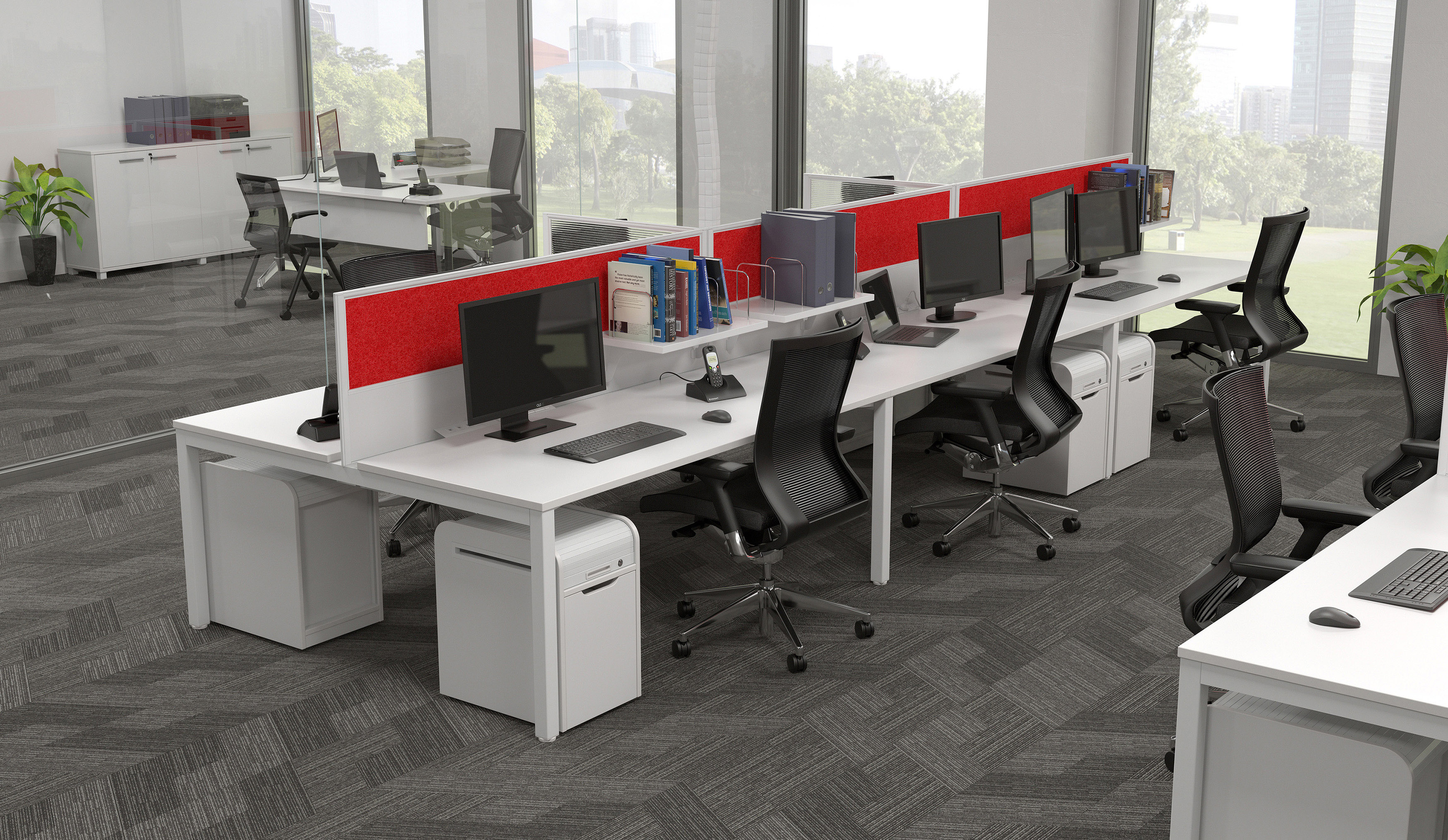 White 6 Person Workstation with Red Desk Screens
