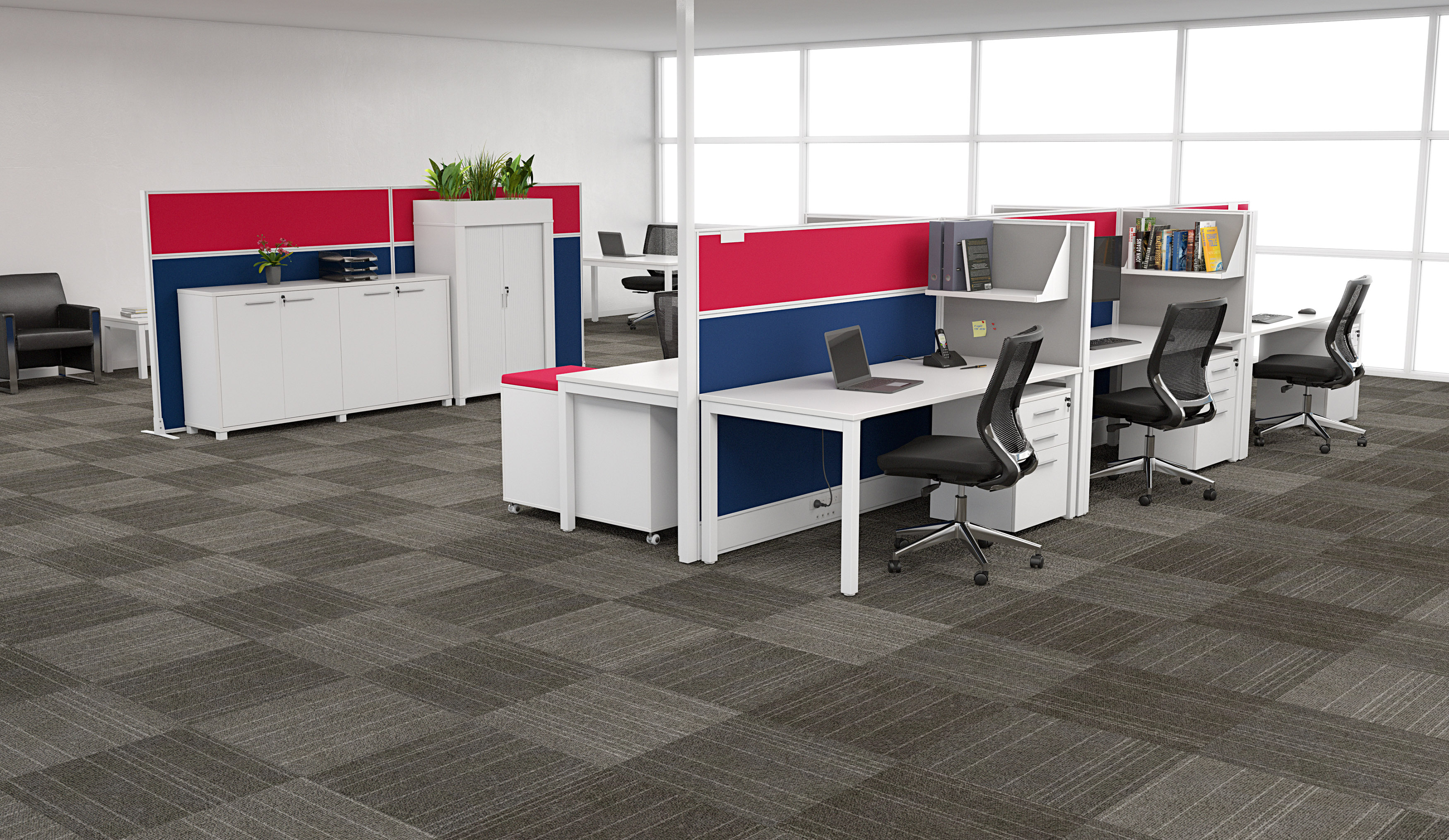 Open Plan Office Setting with a 6 Person Workstations an Privacy Screens
