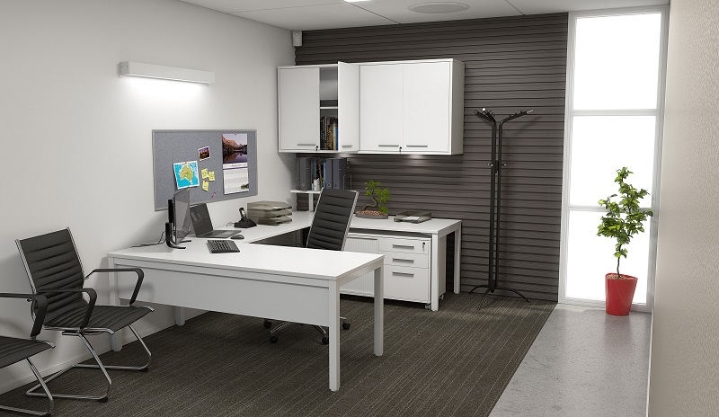 Private Office with a White Corner Desk, Cabinets, Storage and Executive Office Chairs