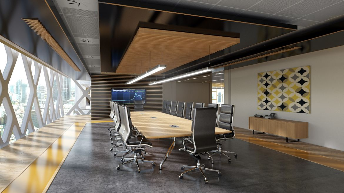 Modern Boardroom with 20 Person Boadroom Table and Black Executive Chairs