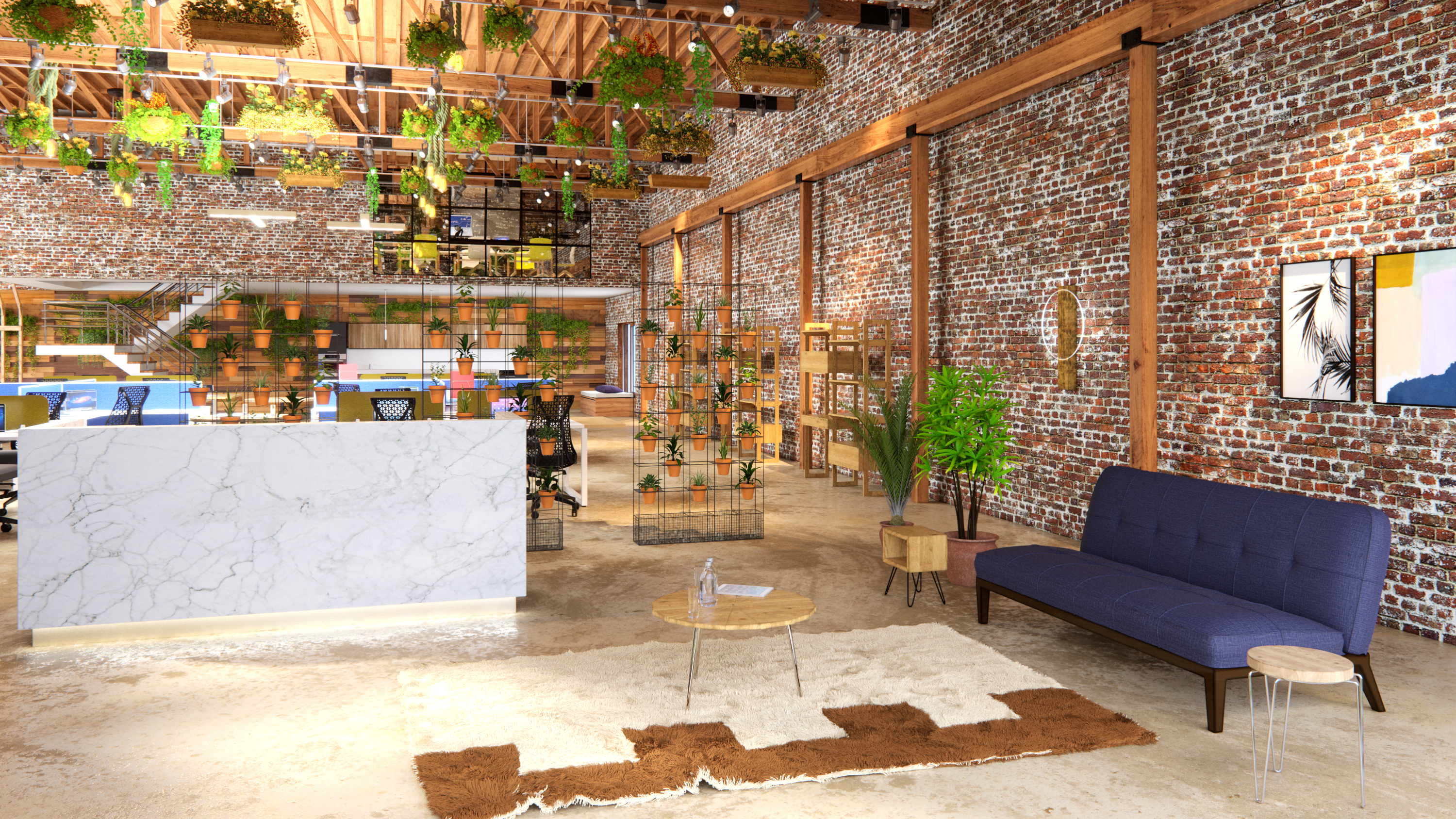Industrial Office Reception Area with Wooden Furniture, Plants and a Marble Reception Desk