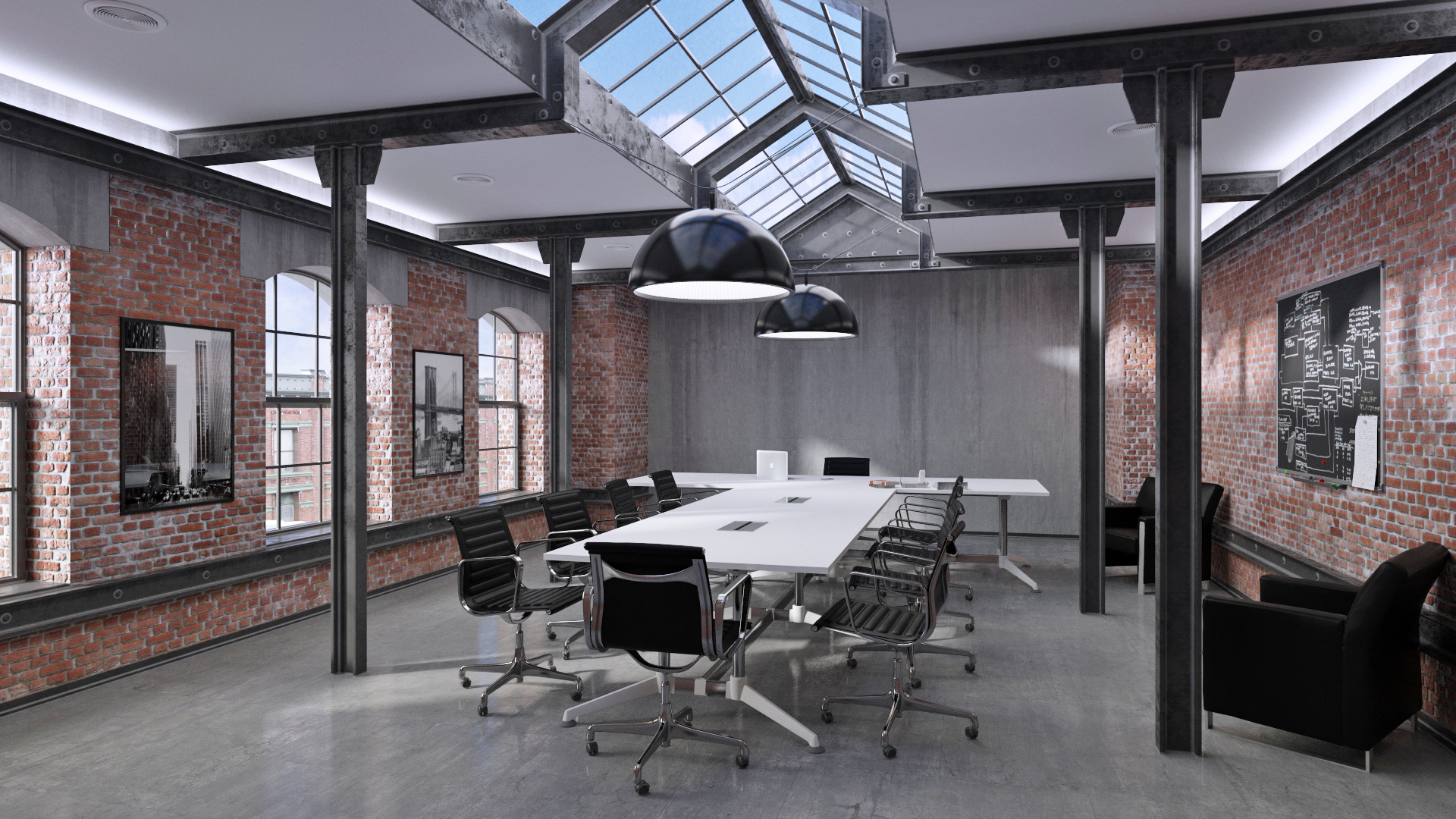 Industrial and Modern Boardroom Setting with Brick Walls, and a Modern White Office Boardroom Table