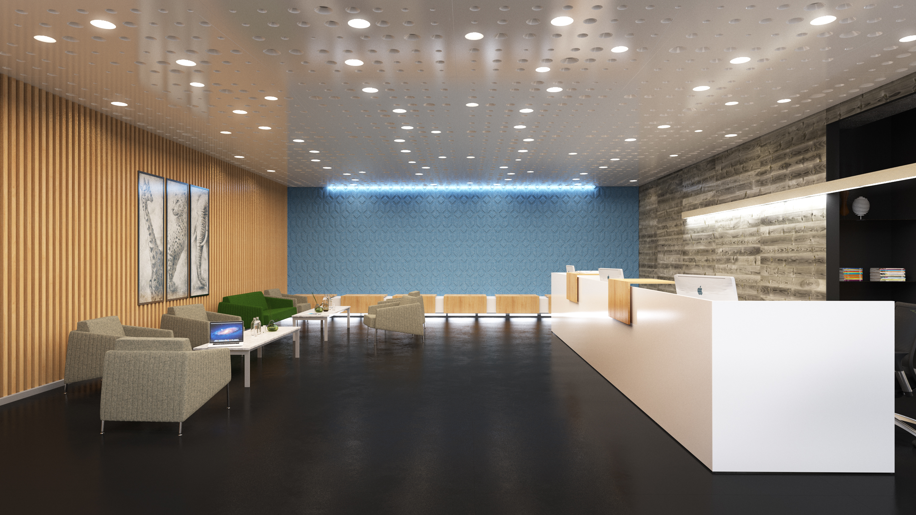Modern Reception Area with a Long Reception Desk and a Large Waiting Area with Grey Lounge Seating and Meeting Tables