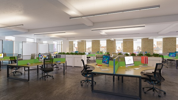 Environmental and Earthy Modern Office Layout with 3 Person Workstations with Transperant Desk Screens