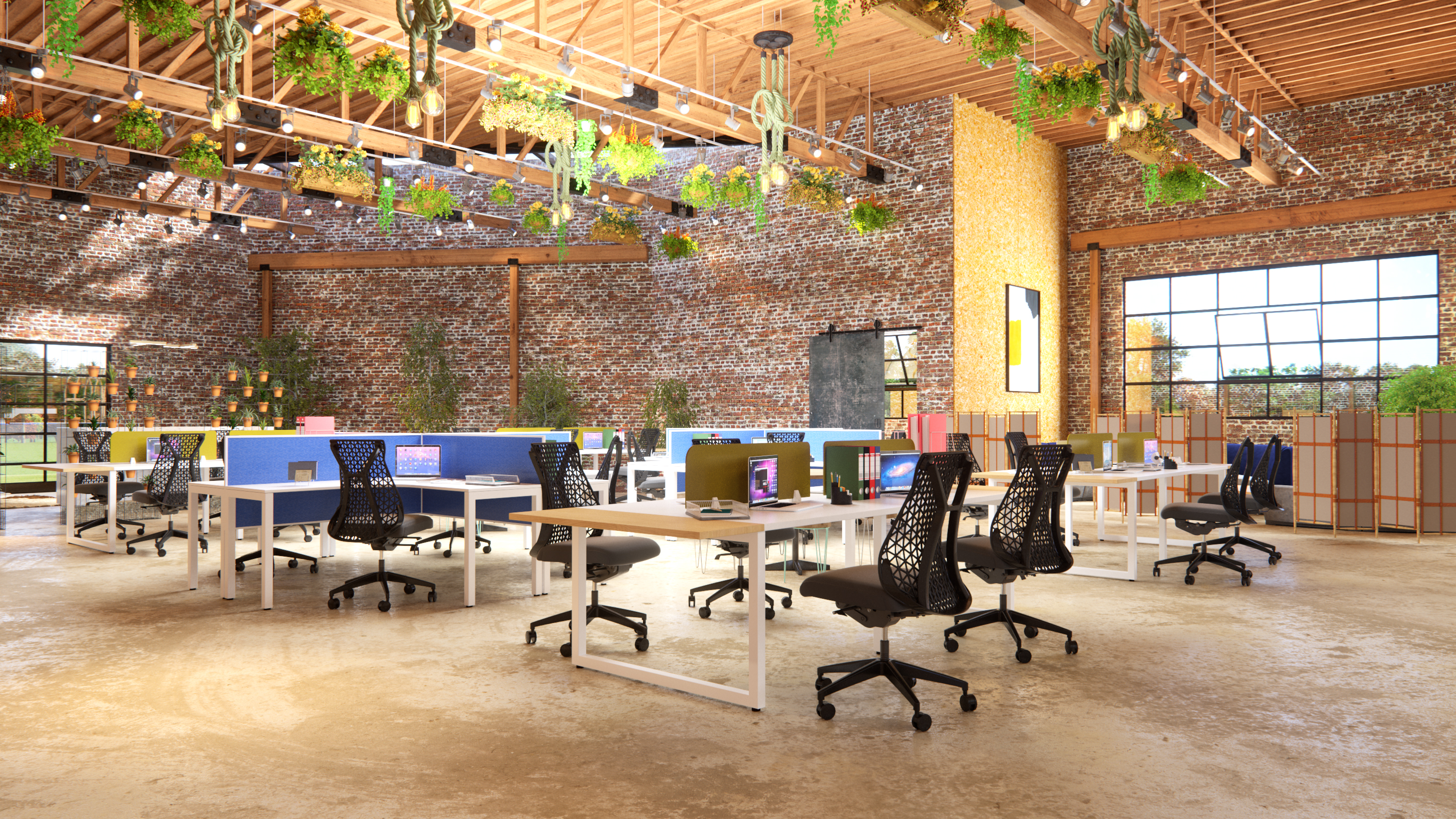 Industrial Office Workplace with Brick Walls, Plants, Greenery, 4 Person Workstations and Ergonomic Office Chairs