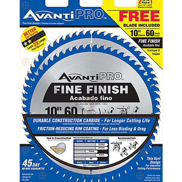 SAW BLADE 10IN. 60T FINE FINISH AVANTI 2PK
