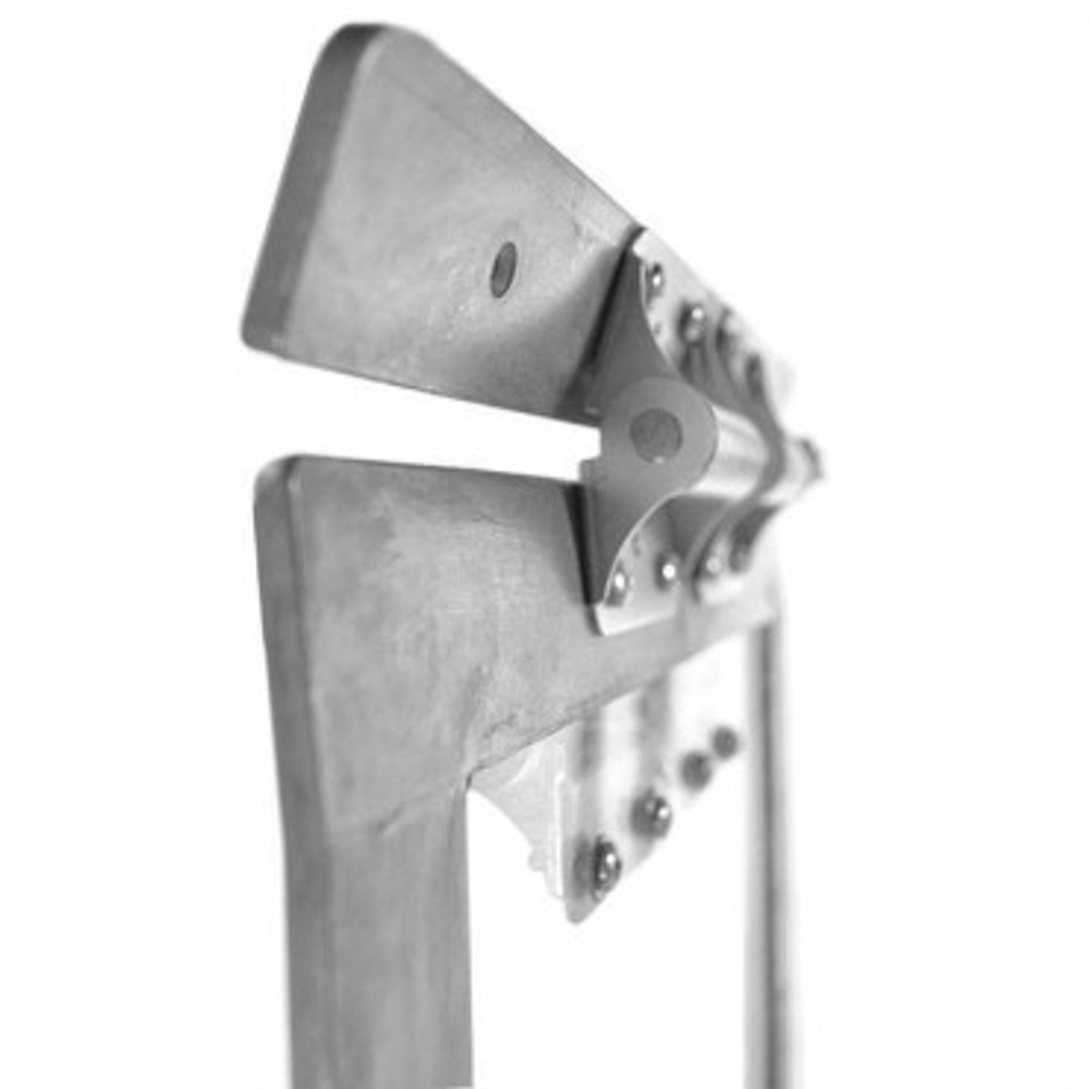 Heavy Duty spring hinges  hold the aluminum frame to allow dog to exit.