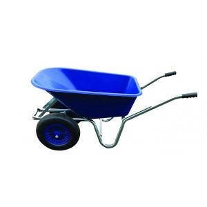 Carrimore Dual Wheel Stable Barrow - 120 Litre Wheelbarrow - Blue