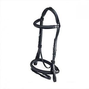 Caldene Bridle Crank Noseband with Rubber Reins - Black