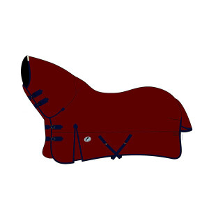 JHL Essential Mediumweight Combo Turnout Rug - Burgundy/Navy