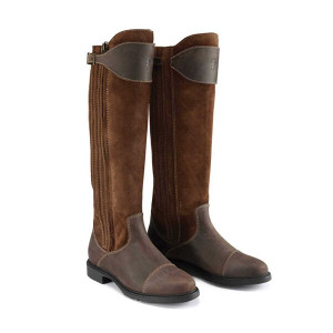 Caldene Buckland Tall Country Boots - Waxed Leather/Suede Tan