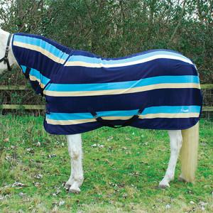 Rhinegold Full Neck Combo Fleece Rug - Turquoise Stripe