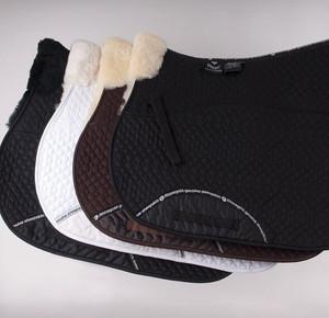 Rhinegold Real Sheepskin Lined Saddle Cloth - White / White