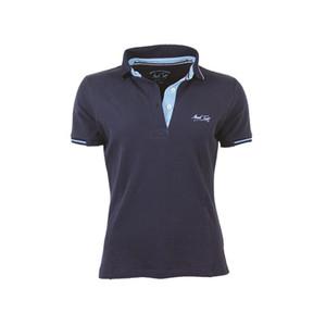 Mark Todd Betty Short Sleeve Polo Shirt - Navy/Sky