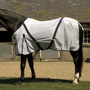 Rhinegold Mesh Fly Rug With Neck Cover - White