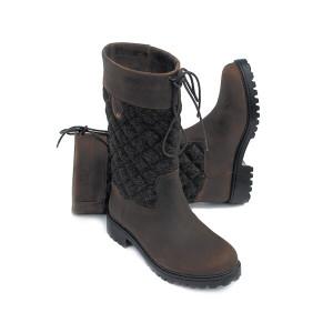 Rhinegold Elite Georgia Tweed Leather Country Boot - Brown