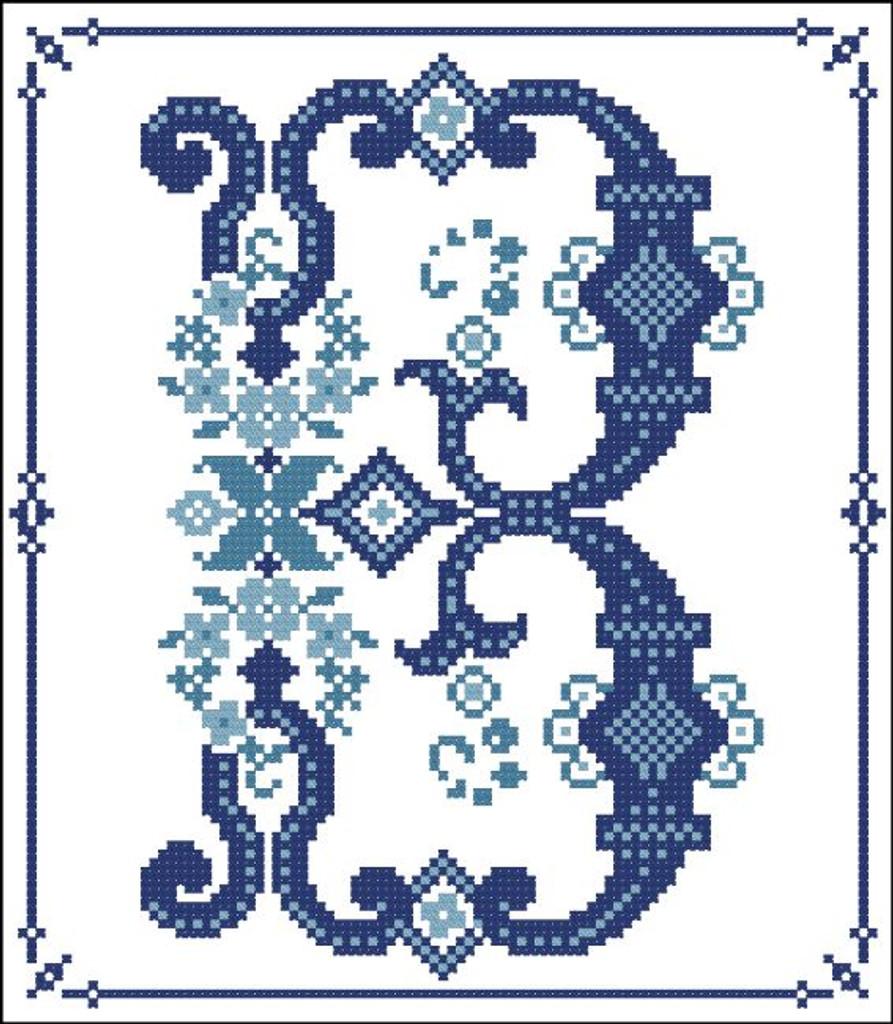 Decorative Blue Alphabet B