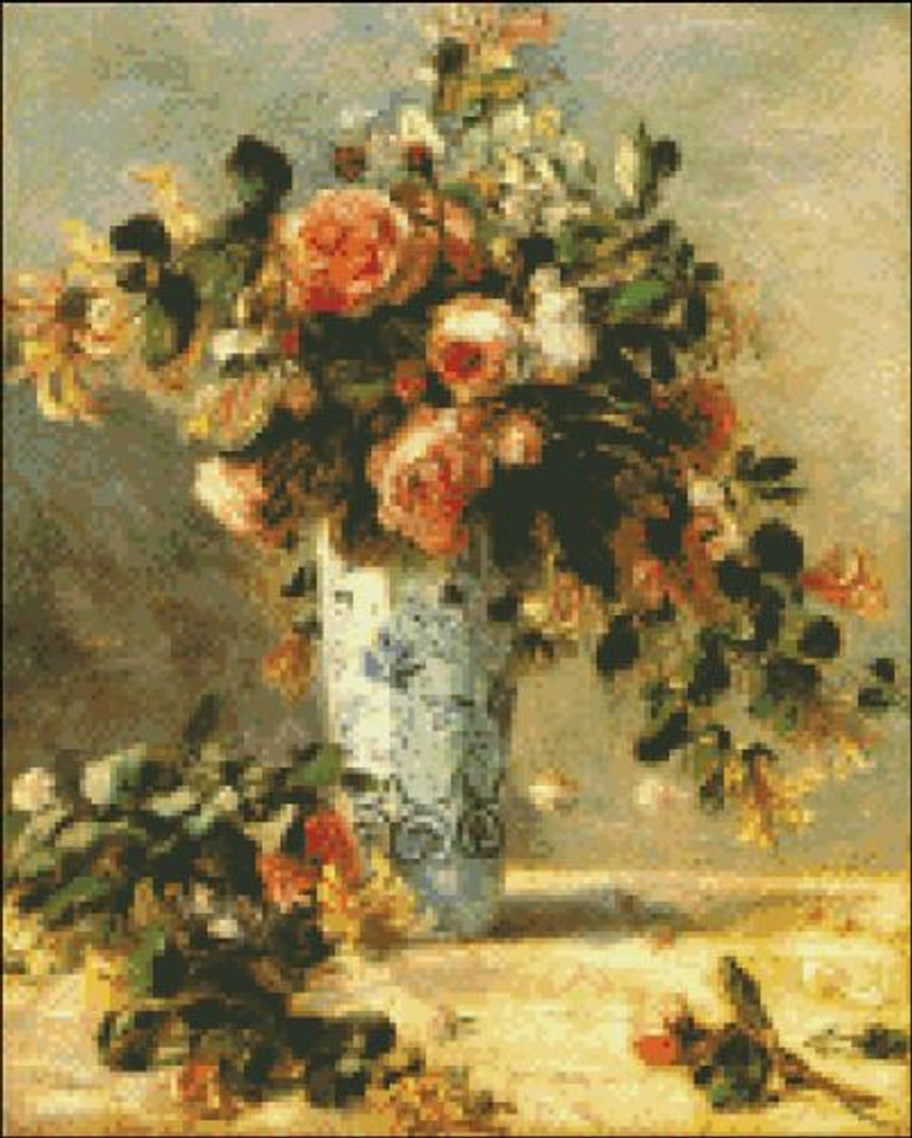 Roses and Jasmine on a Delft Vase