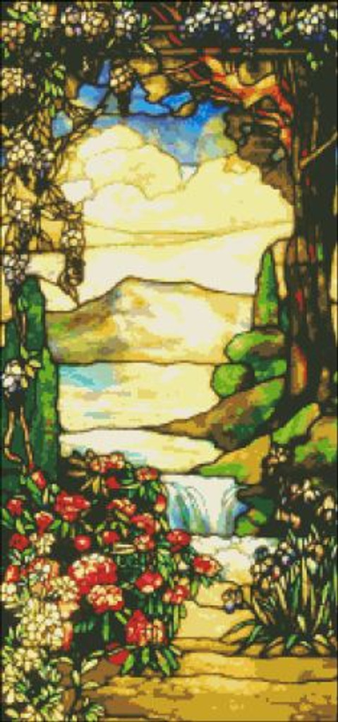 Landscape with Waterfall Stained