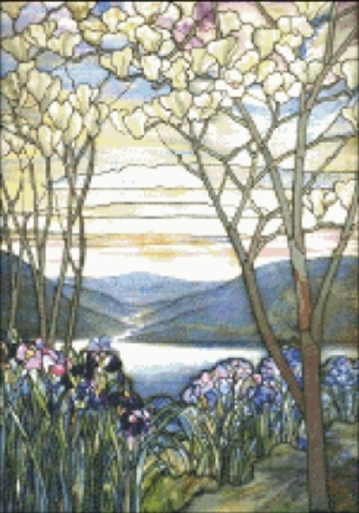 Magnolias and Irises Stained Glass