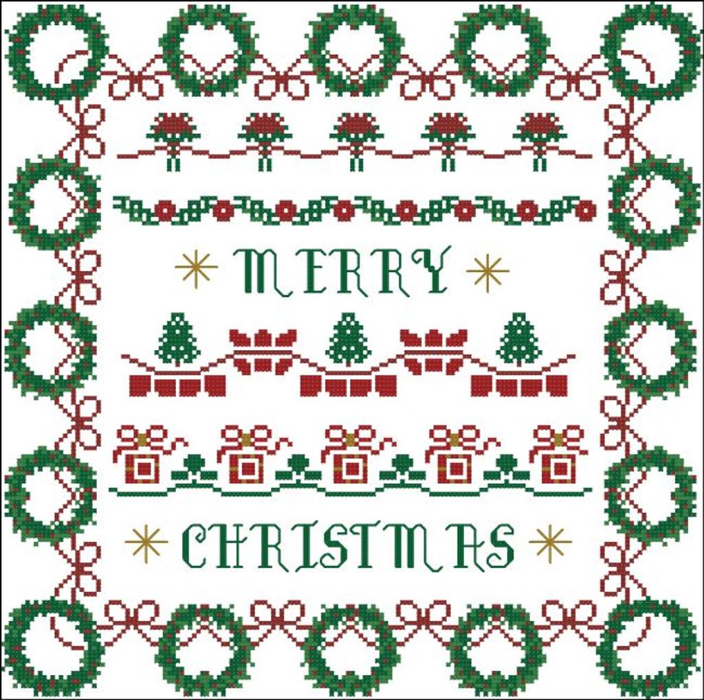 Christmas Wreath Borders Sampler