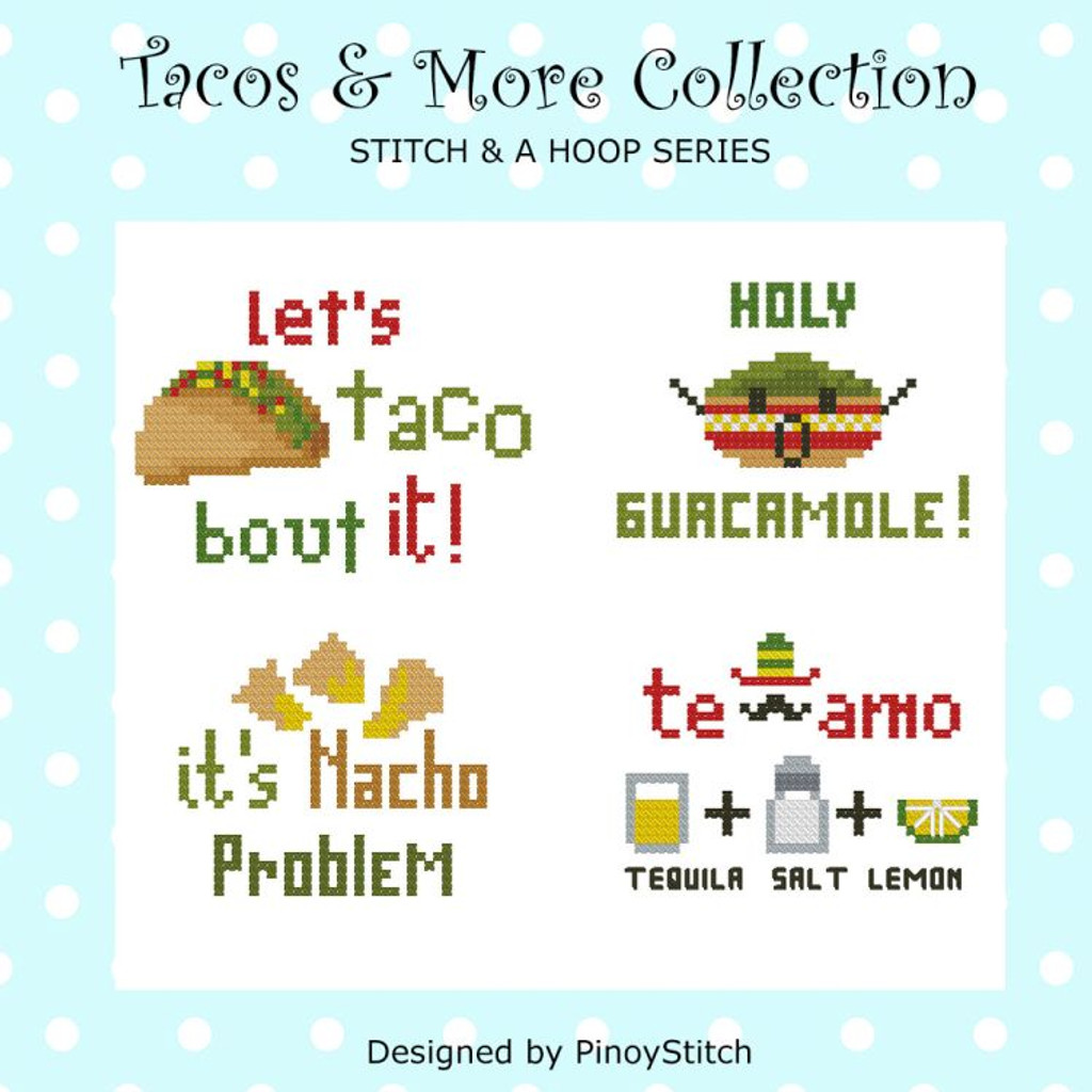 Tacos & More Mini Cross Stitch Pattern Stitch & Hoop