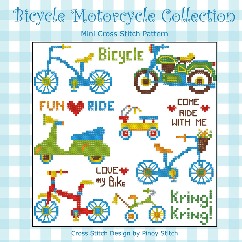 Bicycle Motorcycle Cross Stitch Pattern