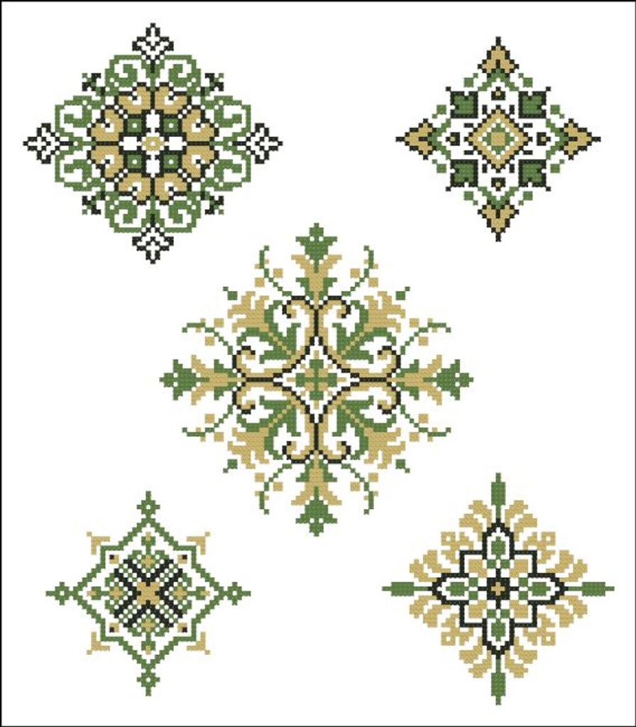 Geometric Medallions Green Gold