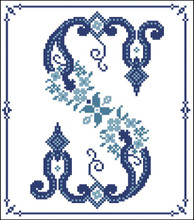 Decorative Blue Alphabet S