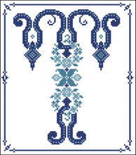 Decorative Blue Alphabet T