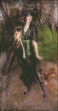 Lady with Two Pekinese
