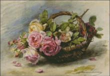 Roses in a Basket by Lemaire