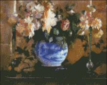 Flowers in a Blue Ginger Jar